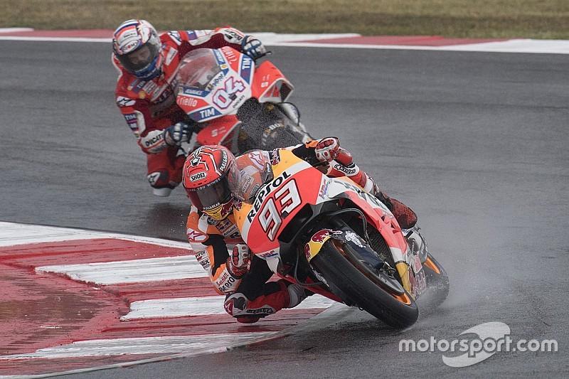 Motegi, Libere 1: Marquez vola sotto alla pioggia, Dovizioso quinto