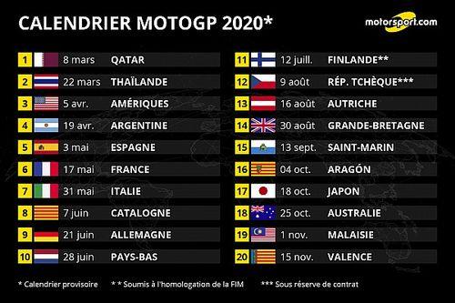 Le MotoGP dévoile un calendrier de 20 dates pour 2020