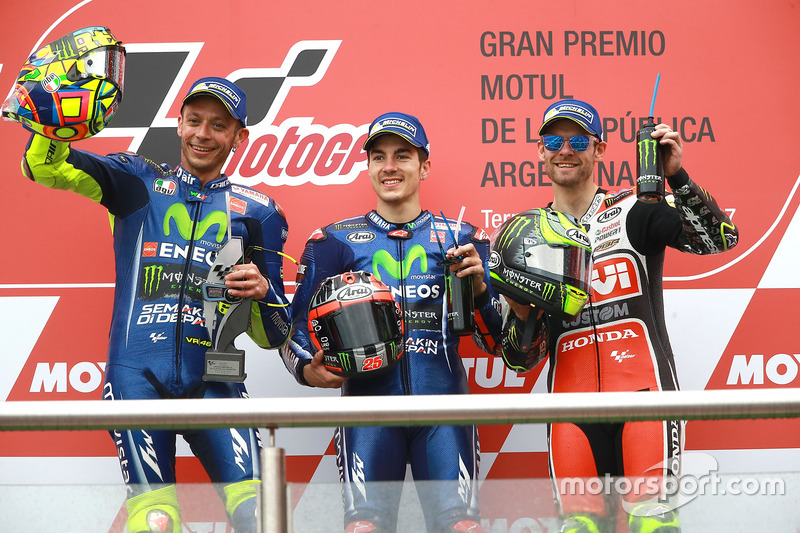 Podium: 1. Maverick Viñales, Yamaha Factory Racing; 2. Valentino Rossi, Yamaha Factory Racing; 3. Cal Crutchlow, Team LCR Honda