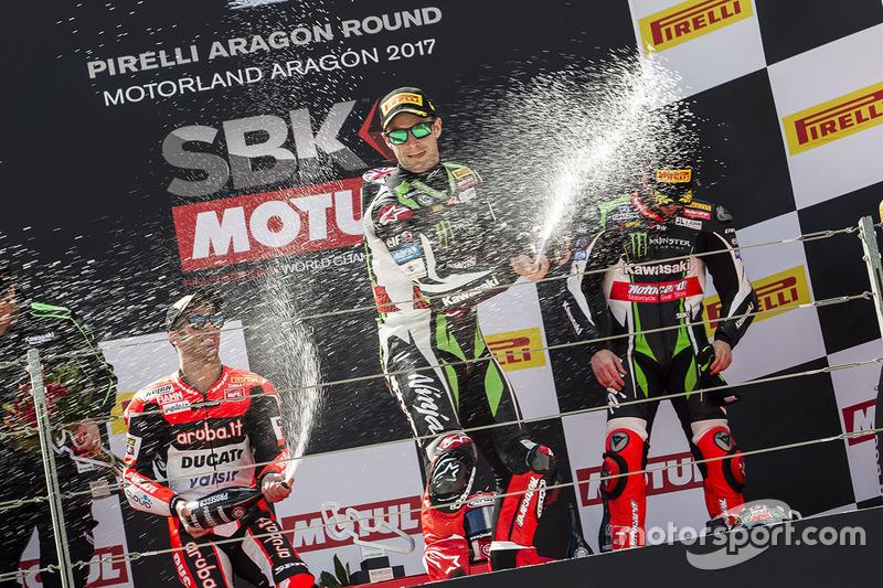 1. Jonathan Rea, Kawasaki Racing; 2. Marco Melandri, Ducati Team