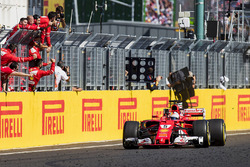 Sebastian Vettel, Ferrari SF70H, race winner, takes the chequered flag