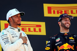 Podium: race winner Lewis Hamilton, Mercedes AMG F1, third place Daniel Ricciardo, Red Bull Racing