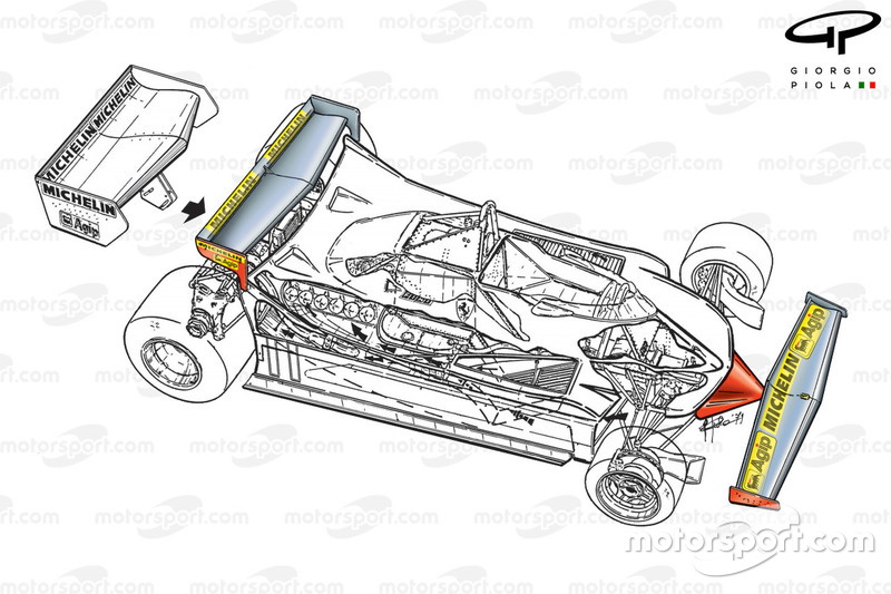 Vue de 3/4 de la Ferrari 312T4, à Monaco