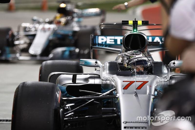 Le poleman Valtteri Bottas, Mercedes AMG W08