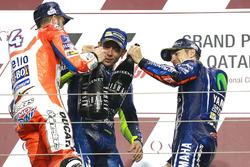 Podium : le vainqueur Maverick Viñales, Yamaha Factory Racing, le deuxième, Andrea Dovizioso, Ducati Team, le troisième, Valentino Rossi, Yamaha Factory Racing