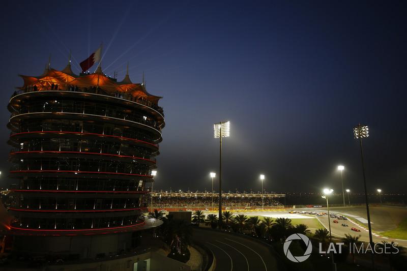 Sebastian Vettel, Ferrari SF71H, leads at the start of the race