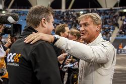 David Coulthard hugs David Croft