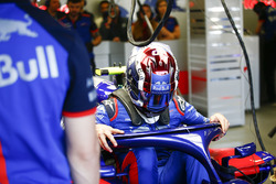 Pierre Gasly, Toro Rosso, climbs out of his car