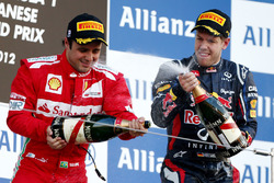 Podium: Felipe Massa, Ferrari, second place, Sebastian Vettel, Red Bull Racing, race winner