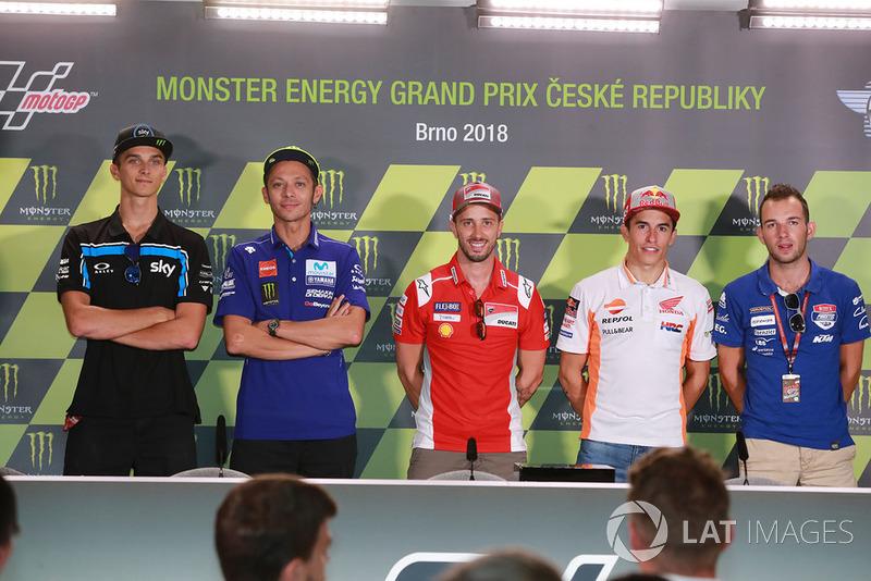Luca Marini, Sky Racing Team VR46, pole sitter Andrea Dovizioso, Ducati Team, second place Valentino Rossi, Yamaha Factory Racing, third place Marc Marquez, Repsol Honda Team