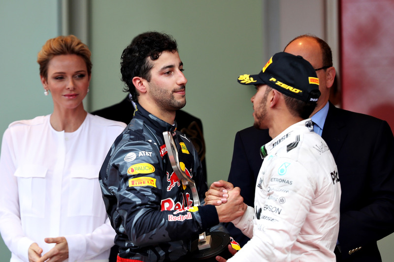 Daniel Ricciardo and Lewis Hamilton on the podium