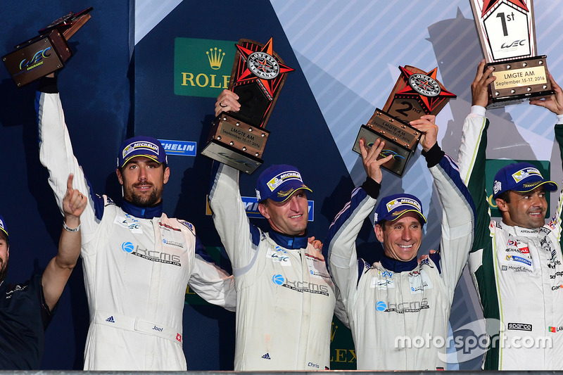 LM GTE Am podium: second place Christian Ried, Wolf Henzler, Joël Camathias, KCMG