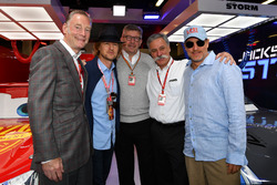 Sean Bratches, Formula One Managing Director, Commercial Operations, Owen Wilson, ACtor, Ross Brawn, Formula One Managing Director of Motorsports, Chase Carey, Chief Executive Officer and Executive Chairman of the Formula One Group and Woody Harrelson, Act