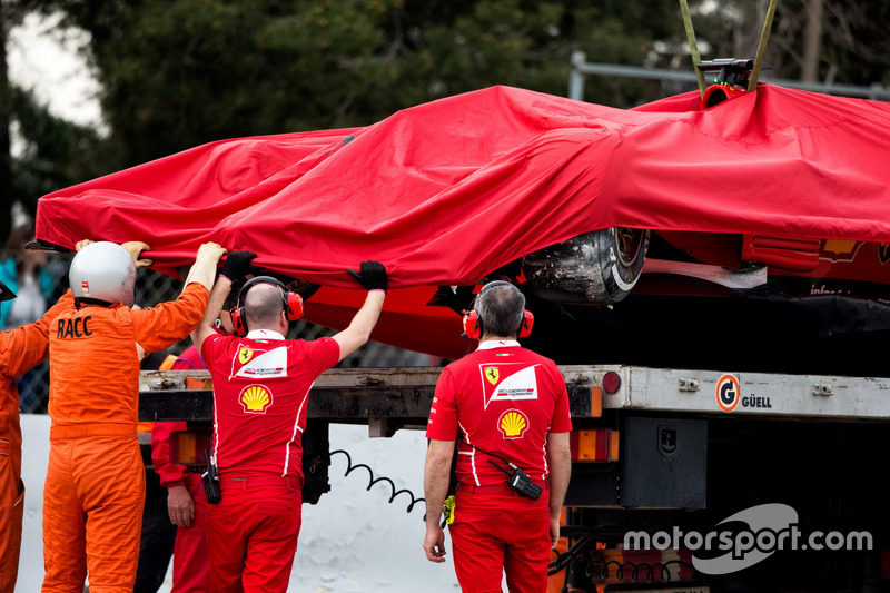 El SF70H accidentado de Kimi Raikkonen