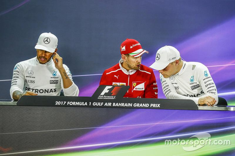 Post-race press conference: race winner Sebastian Vettel, Ferrari, second place Lewis Hamilton, Mercedes AMG F1, third place Valtteri Bottas, Mercedes AMG F1