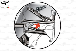 Mercedes F1 W05 steering arm placed ahead of upper front wishbone (arrowed)