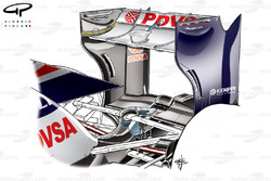 Williams FW34 rear wing, (low downforce, lower angle of attack wing would be positioned where dotted line is shown)