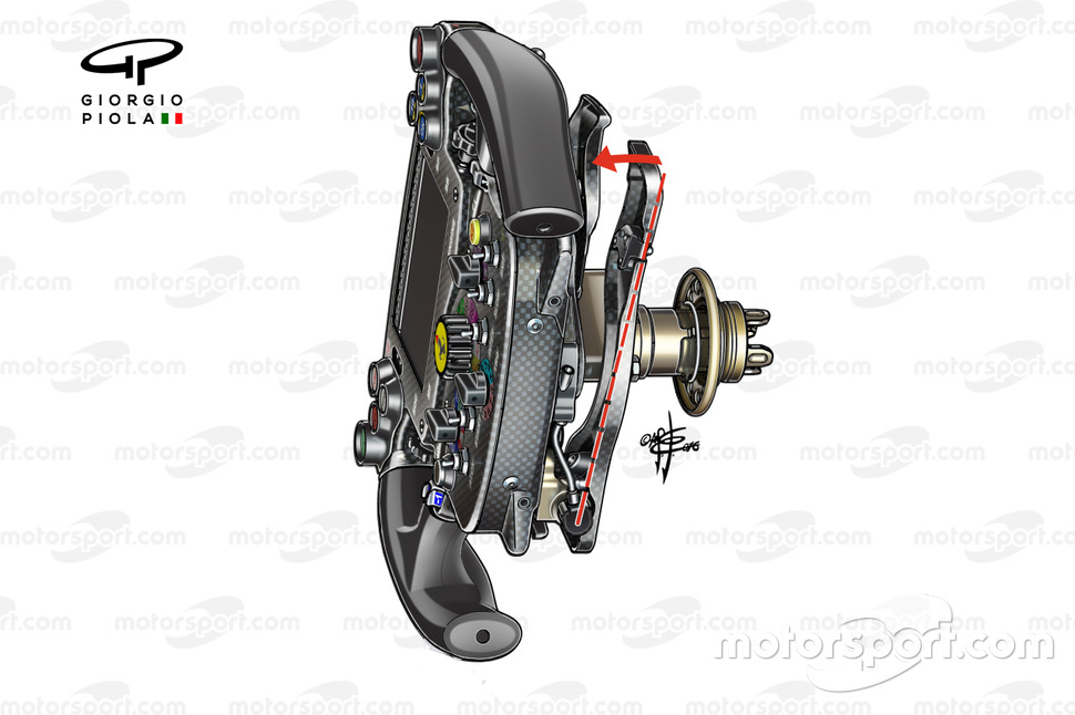 Ferrari SF16-H steering wheel (shows wishbone clutch paddle arrangement)