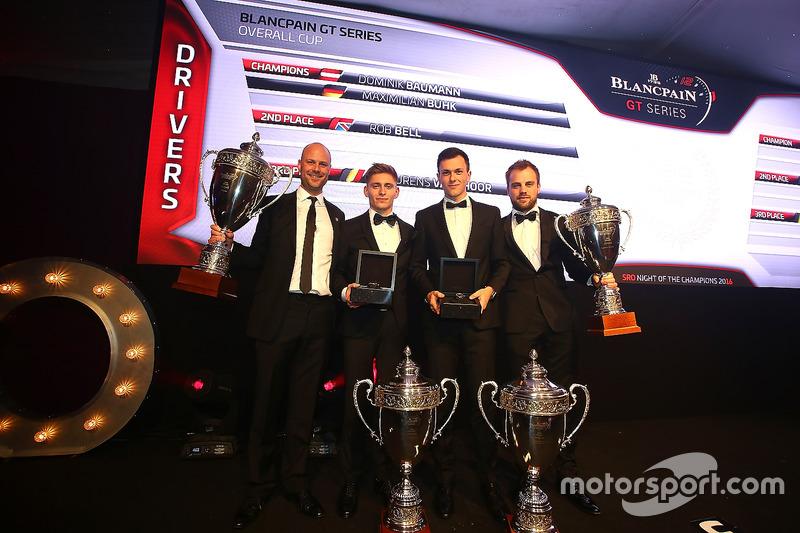 Pilotos 2016, Dominik Baumann, Maximilian Buhk, campeón, Rob Bell, segundo lugar, Laurens Vanthoor, tercer lugar