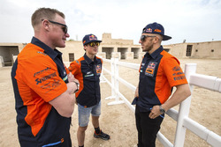 Joel Smets, KTM Motocross Factory Racing Sports Director with Jorge Prado and Tony Cairoli