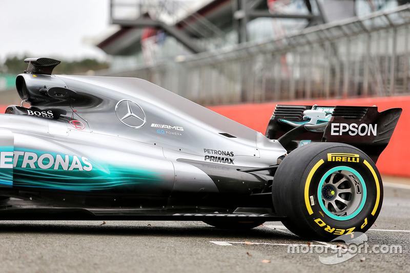 Mercedes AMG F1 W08 Hybrid achterkant detail