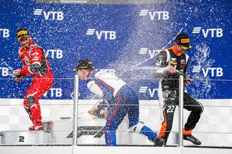 Podium: race winner David Beckmann, Trident, second place Joey Mawson, Arden International, third place Richard Verschoor, MP Motorsport