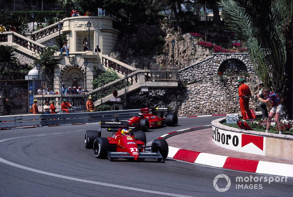 Alboreto leads Gerhard Berger at Monaco in 1987. Michele matched Gerhard on qualifying pace for the first half of the season but disillusionment and a subsequent drop in pace were just around the corner.