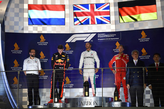(L to R): Max Verstappen, Red Bull Racing, Lewis Hamilton, Mercedes AMG F1 and Sebastian Vettel, Ferrari on the podium