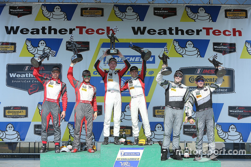 GTD Podium: first place Madison Snow, Bryan Sellers, Paul Miller Racing, second place Matt Bell, Lawson Aschenbach, Stevenson Motorsports, third place John Potter, Andy Lally, Magnus Racing