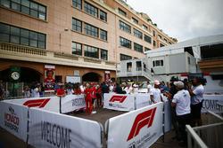 Lewis Hamilton, Mercedes AMG F1, and Sebastian Vettel, Ferrari, talk to media