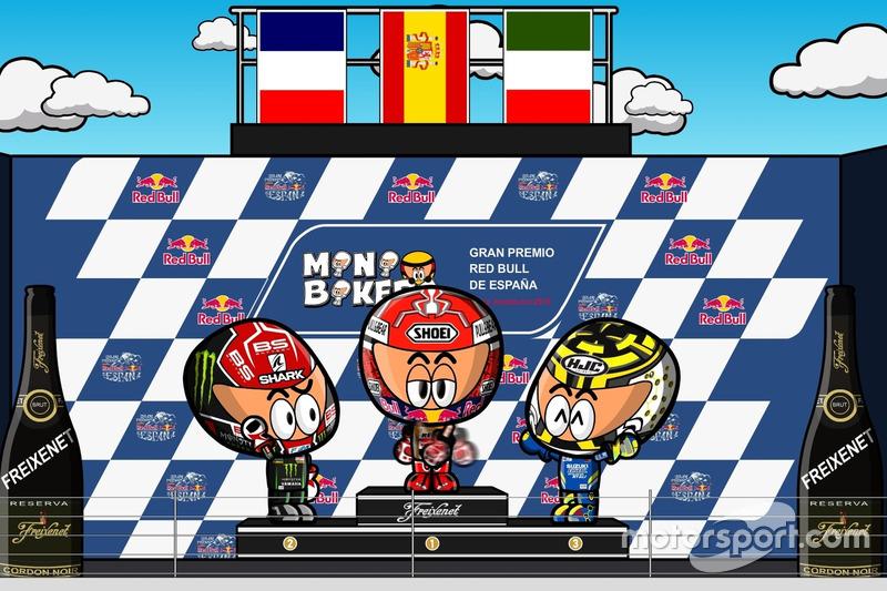 El podio del GP de España de MotoGP 2018, por MiniBikers