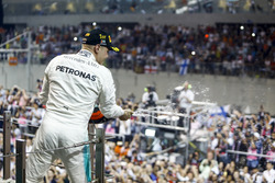 Valtteri Bottas, Mercedes AMG F1, celebrates his win on the podium