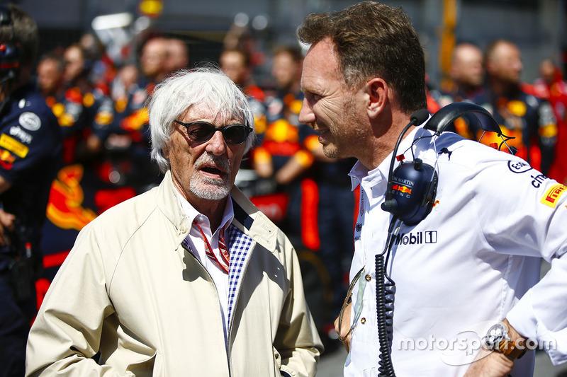 Bernie Ecclestone con Christian Horner, director de Red Bull Racing