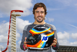 Fernando Alonso, McLaren, with his Indy 500 themed helmet
