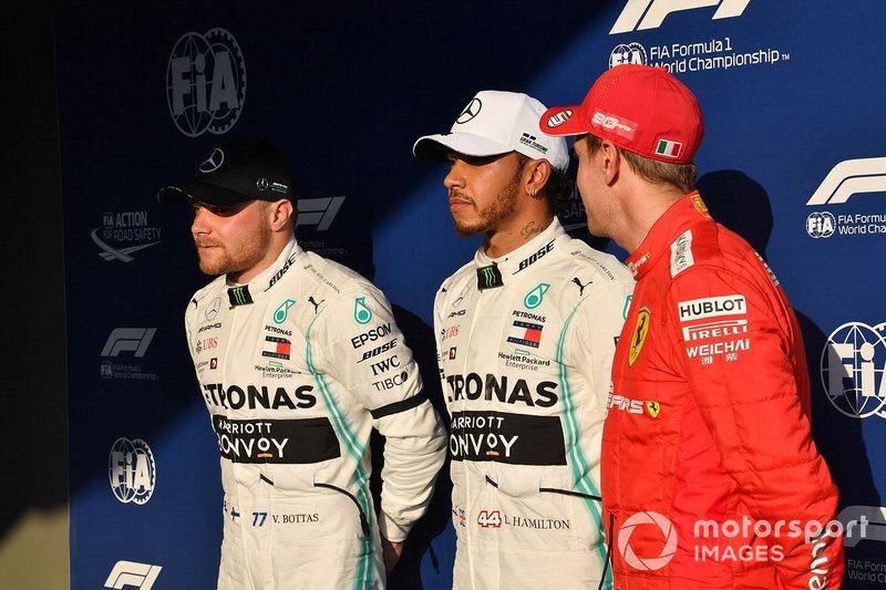 Valtteri Bottas, Mercedes AMG F1, Lewis Hamilton, Mercedes AMG F1 y Sebastian Vettel, Ferrari