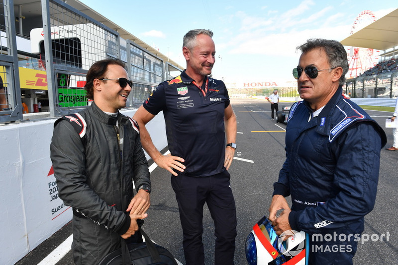 Felipe Massa, Jonathan Wheatley, Red Bull Racing Team Manager et Jean Alesi lors des Legends F1 30th Anniversary Lap Demonstration