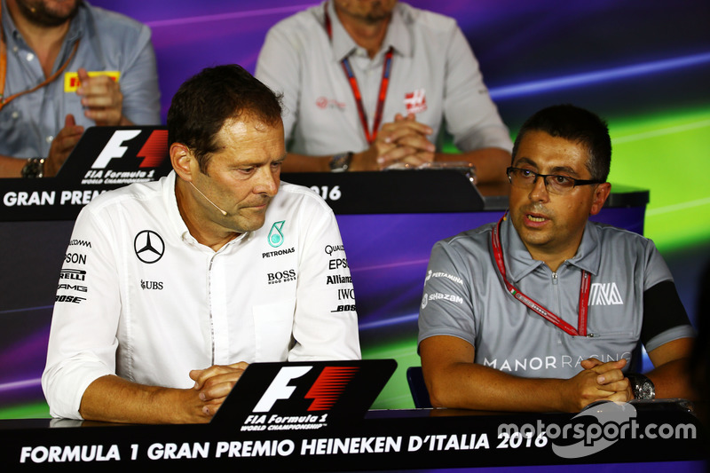(L to R): Aldo Costa, Mercedes AMG F1 Engineering Director with Luca Furbatto, Manor Racing Head of Design in the FIA Press Conference
