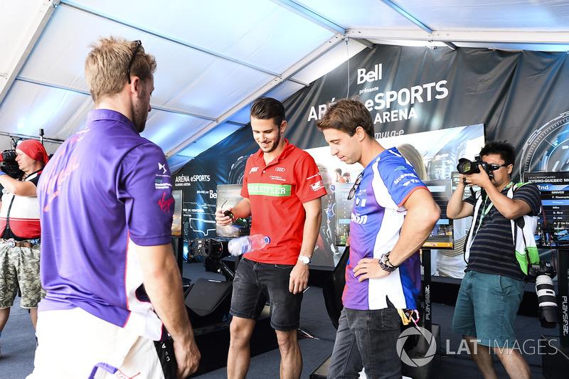 Sam Bird, DS Virgin Racing, Daniel Abt, ABT Schaeffler Audi Sport, and Antonio Felix da Costa, Amlin Andretti Formula E Team
