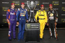 Denny Hamlin, Joe Gibbs Racing Toyota, Kyle Busch, Joe Gibbs Racing Toyota, Matt Kenseth, Joe Gibbs Racing Toyota, Martin Truex Jr., Furniture Row Racing Toyota