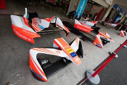 Mahindra Racing bodywork in the pits