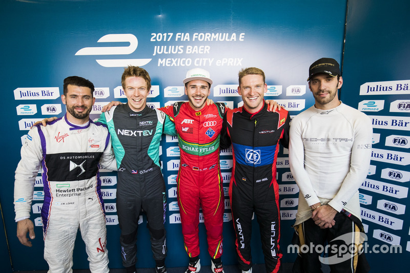 Jose Maria Lopez, DS Virgin Racing; Oliver Turvey, NEXTEV TCR Formula E Team; Daniel Abt, ABT Schaef