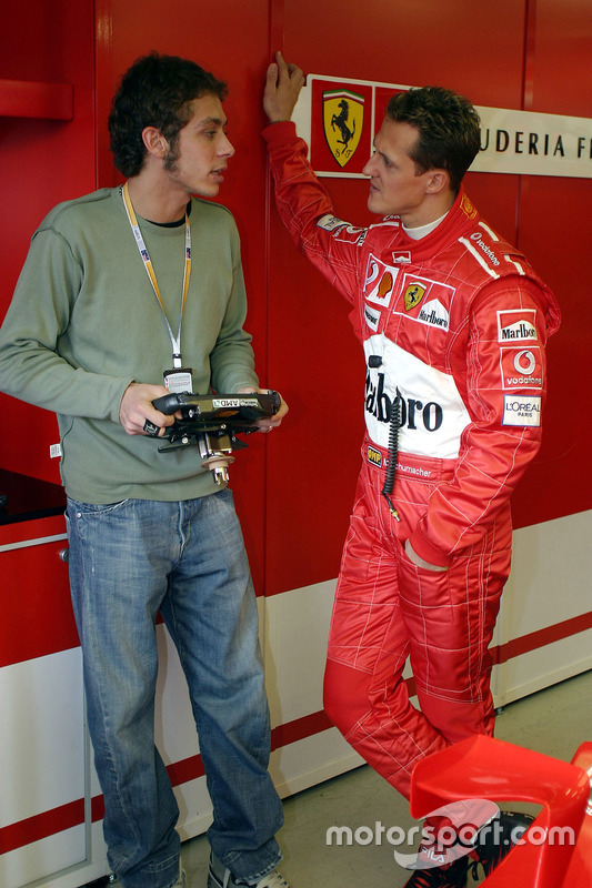 Valentino Rossi mit Michael Schumacher, Ferrari