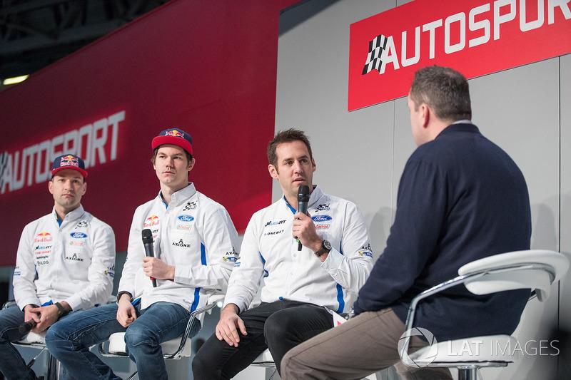 Mikko Markkula, Teemu Suninen e Richard Miller sull'Autosport Stage con Henry Hope-Frost