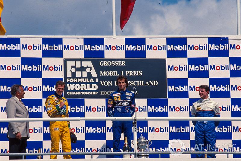 Podium: race winner Alain Prost, Williams, second place Michael Schumacher, Benetton, third place Mark Blundell, Ligier