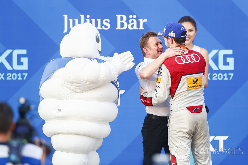 Allan McNish, Team Principal, Audi Sport Abt Schaeffler, Daniel Abt, Audi Sport ABT Schaeffler, celebrate on the podium