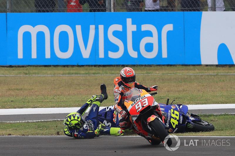 Marc Marquez, Repsol Honda Team, Valentino Rossi, Yamaha Factory Racing crashes