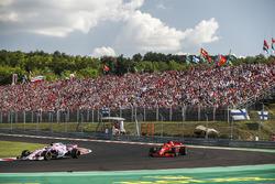 Sergio Perez, Force India VJM11, leads Sebastian Vettel, Ferrari SF71H