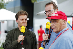 RTL presenters at work, including Nico Rosberg and Niki Lauda