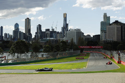 Lewis Hamilton, Mercedes AMG F1 W09, leads Kimi Raikkonen, Ferrari SF71H, and Sebastian Vettel, Ferrari SF71H