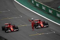 Sebastian Vettel, Ferrari SF70H celebrates in parc ferme